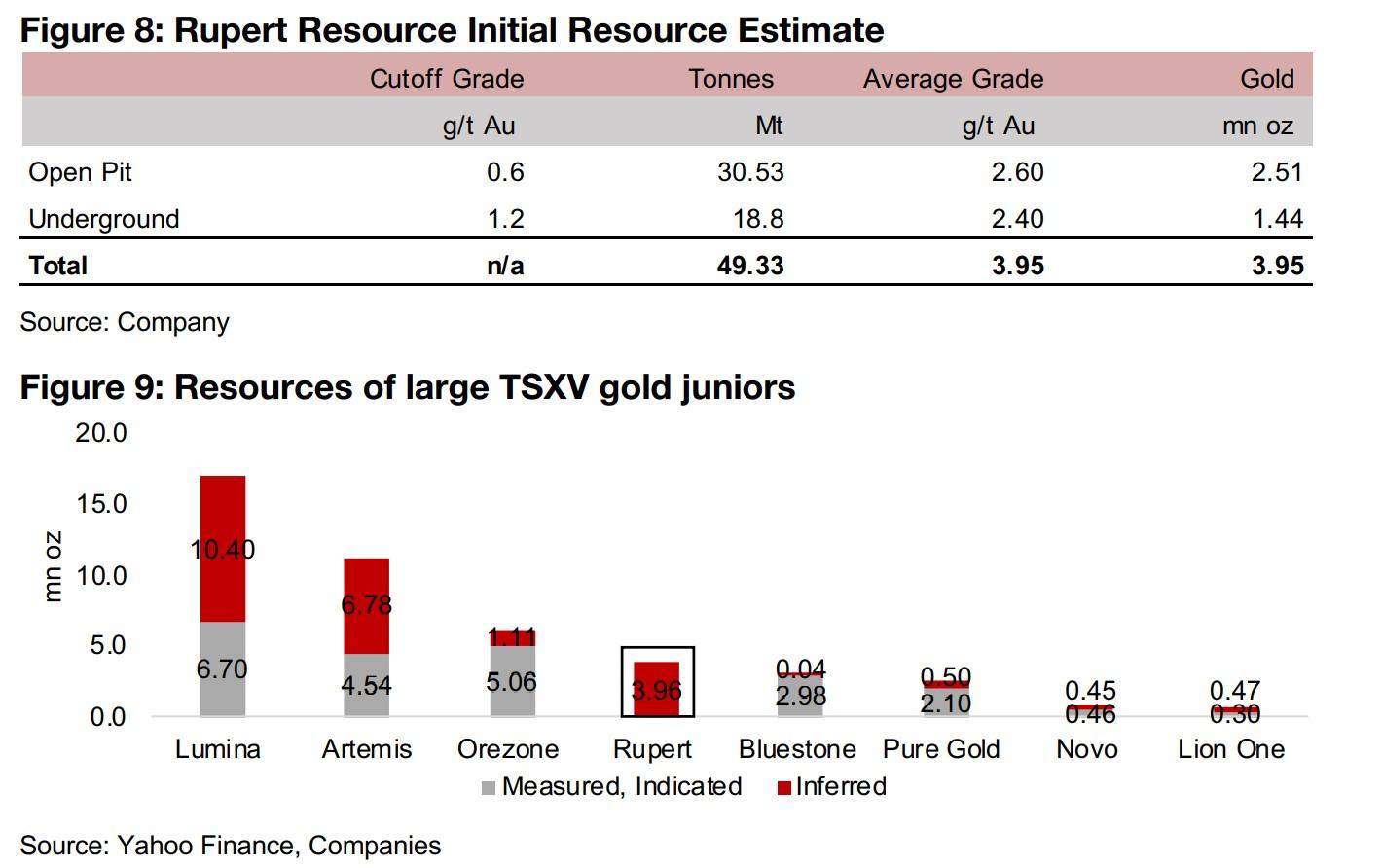 Rupert Resource declines following initial resource estimate